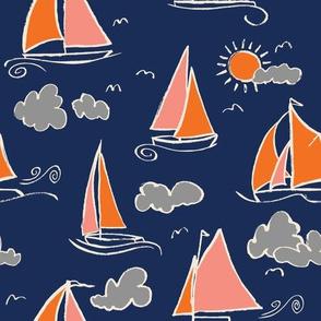 Sunny Sailboats on Navy // nautical sailing boat ships sunny sunshine clouds grey pink orange navy fabric