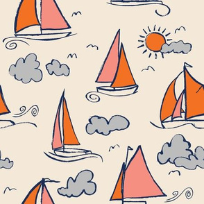 Sunny Sailboats on Cream // nautical sailing boat ships sunny sunshine clouds orange grey pink fabric
