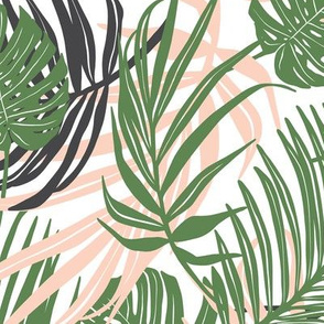 Hideaway - Tropical Palm Leaves White Medium Scale