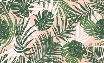 Hideaway - Tropical Palm Leaves Pink Blush Medium Scale
