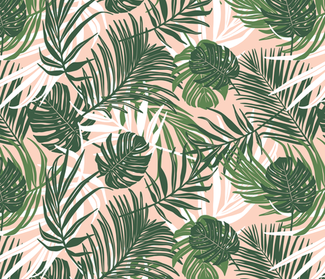 Hideaway - Tropical Palm Leaves Pink Blush Medium Scale fabric by heatherdutton on Spoonflower - custom fabric