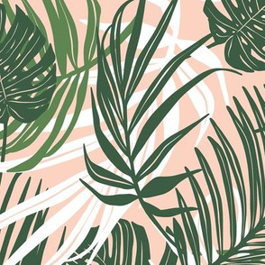 Hideaway - Tropical Palm Leaves Pink Blush Medium Scale