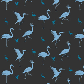 flamingo, crane and heron blue