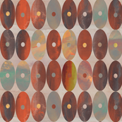 Earthy Burnt Orange, Brown and Grey Watercolor Oval Stripes