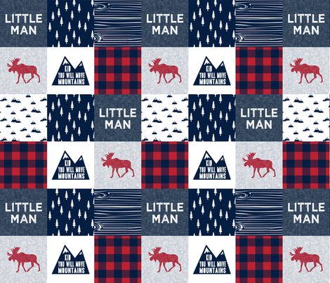 Little Man & You Will Move Mountains Quilt Top - Navy & Red fabric by littlearrowdesign on Spoonflower - custom fabric