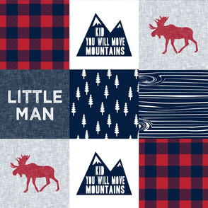 Little Man & You Will Move Mountains Quilt Top - Navy & Red