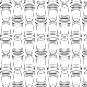 Flip Cup Plastic Cup Pattern in Black and White