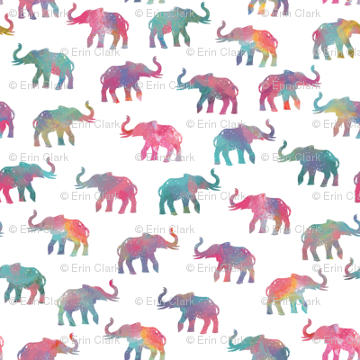 Elephants On Parade in Watercolor