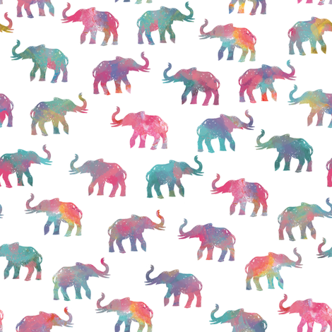 Elephants On Parade in Watercolor fabric by inkedinred on Spoonflower - custom fabric