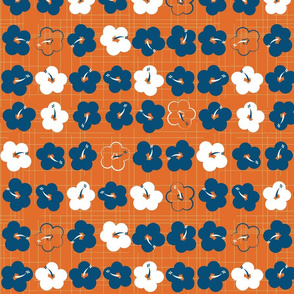 Waikiki Hibiscus (Blue and White on Orange)