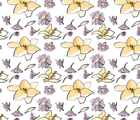 Lily and Daisies fabric by making_snippets on Spoonflower - custom fabric
