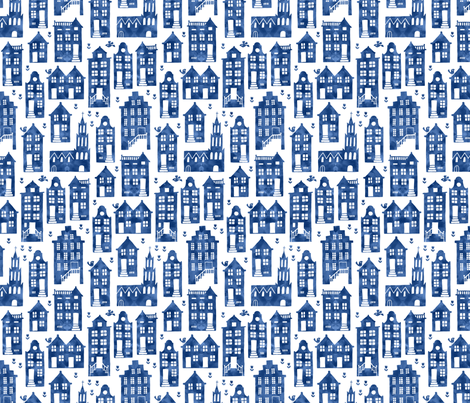 Houses in Royal Delft blue watercolors (small) fabric by heleen_vd_thillart on Spoonflower - custom fabric