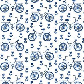 Bikes in Royal Delft blue watercolors