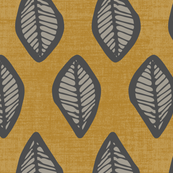 Leaves - Grey, Gold Linen