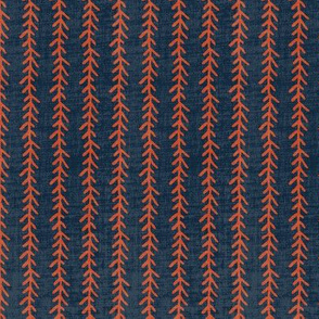 Feather Stripe - Indigo, Linen