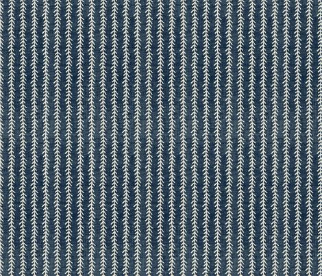 Feather Stripe - Indigo, Linen fabric by fernlesliestudio on Spoonflower - custom fabric