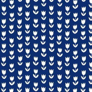 Tulips on solid dark blue