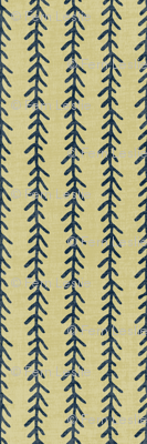 Feather Stripe - Indigo, Straw, Linen