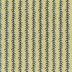 Feather Stripe - Indigo, Straw, Linen