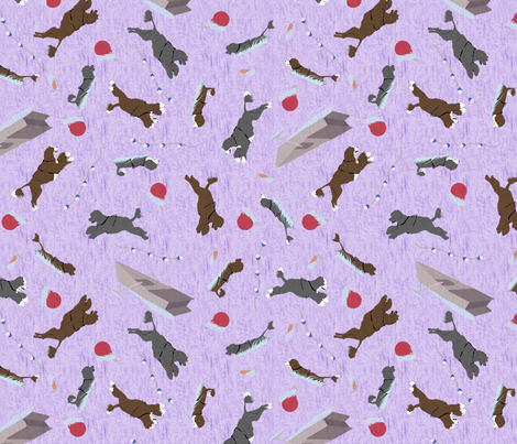 Water sport trial Portuguese water dogs - purple fabric by rusticcorgi on Spoonflower - custom fabric