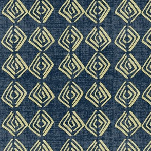 Ethnic Diamond - Straw Navy Linen