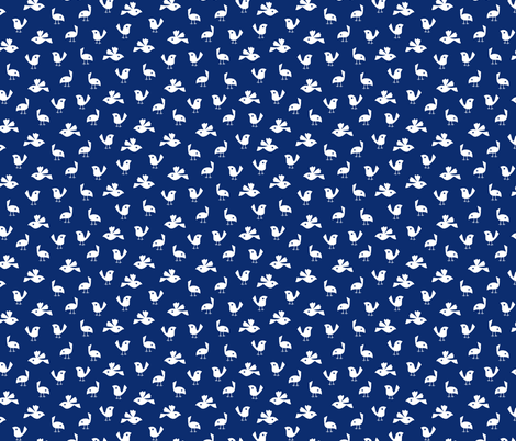 Pigeons on solid dark blue fabric by heleen_vd_thillart on Spoonflower - custom fabric