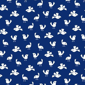 Pigeons on solid dark blue