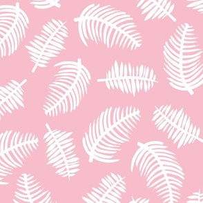 Tropical summer palm leaves hawaiian garden pastel pink