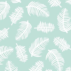 Tropical summer palm leaves garden mint green