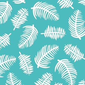 Tropical summer palm leaves garden blue