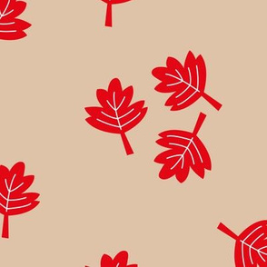 Canadian maple leaf autumn woodland print red gender neutral beige LARGE