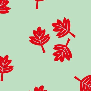 Canadian maple leaf autumn woodland print red mint LARGE