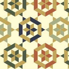 Bayeux Hexagon Stars and Diamonds