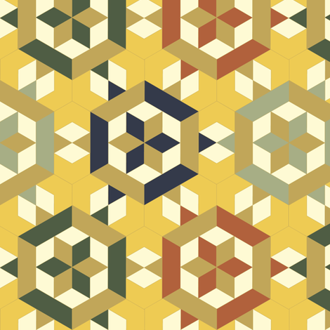 Bayeux Hexagon Stars and Diamonds 2 fabric by eclectic_house on Spoonflower - custom fabric