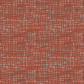 Crosshatch Burnt Orange, Orange over Grey