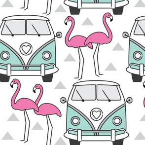 blue vintage van and flamingos