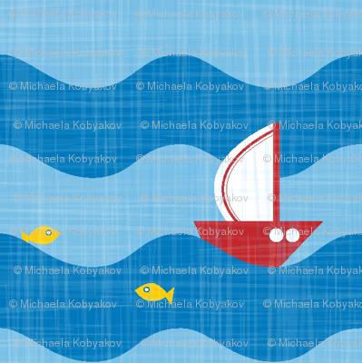 little sailing ship light blue