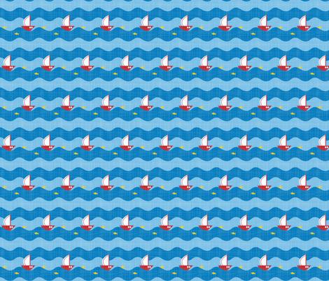 little sailing ship light blue fabric by michaelakobyakov on Spoonflower - custom fabric