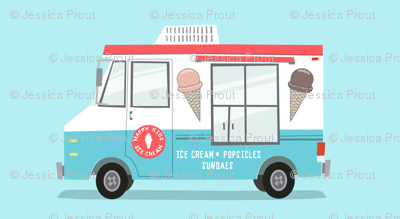 ice cream truck - red and blue