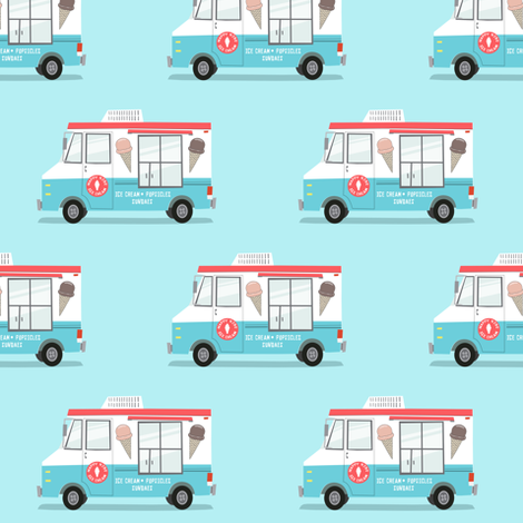 Ice cream truck red and blue fabric littlearrowdesign for Little blue truck fabric