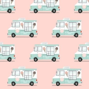 ice cream trucks on pink