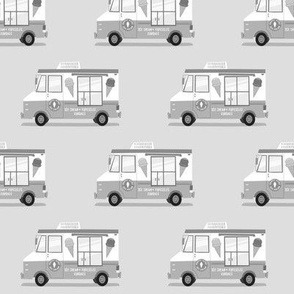 ice cream trucks - greyscale