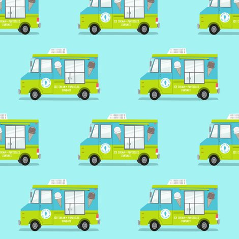 Ice cream truck blue and green fabric for Little blue truck fabric