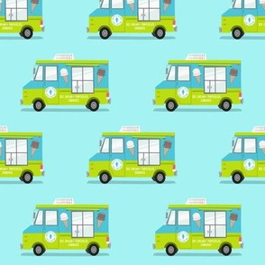 ice cream truck - blue and green