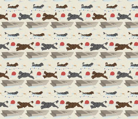 Water sport trial Portuguese water dogs border - tan fabric by rusticcorgi on Spoonflower - custom fabric