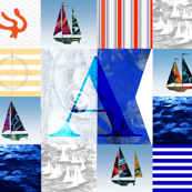 Nautical Quilt Top Letter A Sail Flags
