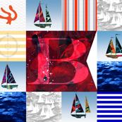 Nautical Quilt Top Letter B Sail Flags