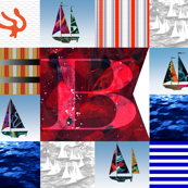 Nautical Quilt Top Letter B Sail Flags