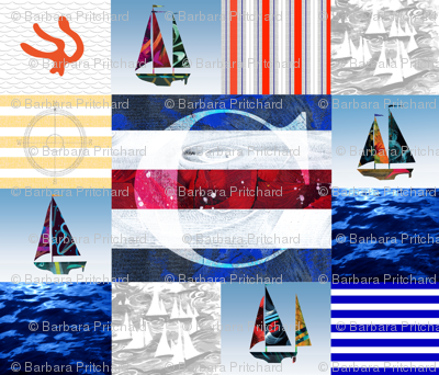 Nautical Quilt Top Letter C Sail Flags