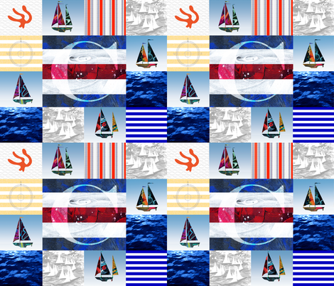 Nautical Quilt Top Letter C Sail Flags fabric by barbarapritchard on Spoonflower - custom fabric